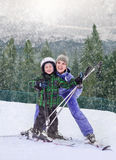 Mother with son on the mountain sky resort Royalty Free Stock Photography