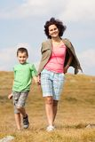 Mother and son in the mountains Royalty Free Stock Photo