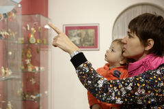 Mother with son in museum Royalty Free Stock Photography