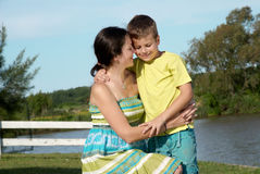 Mother and son in nature Stock Images