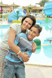 Mother and son near pool Royalty Free Stock Photography