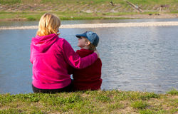 Mother and son near the river Royalty Free Stock Photos