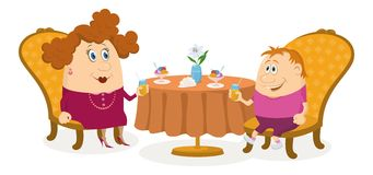 Mother and son near table, isolated Royalty Free Stock Photos