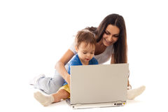 Mother and son with notebook together isolated Stock Image