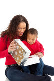 Mother and Son Open Christmas Gift Box Royalty Free Stock Images