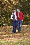 Mother and son out walking, having a conversation stock images