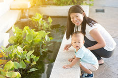 Mother and son outdoor stock photography