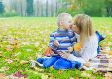 Mother and son outdoor Stock Photos