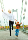 Mother and son outdoor Stock Image