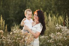 Mother and son outdoor lifestyle portrait stock images