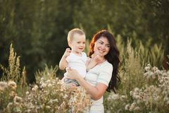 Mother and son outdoor lifestyle portrait royalty free stock photography