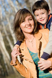 Mother and son outdoor set Stock Photos