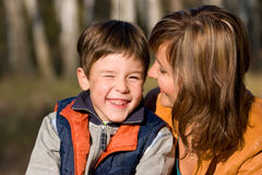 Mother and son outdoor set Stock Image