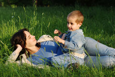 Mother and son outdoors Royalty Free Stock Photography