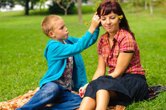 Mother and son outdoors Stock Photography