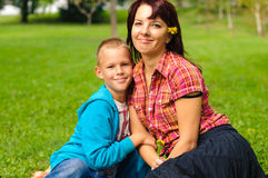 Mother and son outdoors Stock Photos