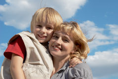 Mother with the son outdoors Stock Photo