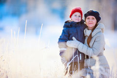 Mother and son outdoors at winter Stock Image