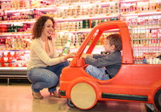 Mother with son over shopping Stock Photography