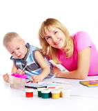 Mother and son painting Stock Photo