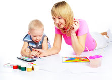 Mother and son painting Stock Photos