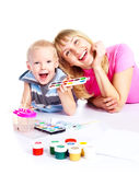 Mother and son painting Royalty Free Stock Photo