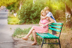 Mother and son in park Royalty Free Stock Photos