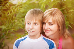 Mother and son in park Royalty Free Stock Image