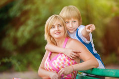 Mother and son in park Stock Image