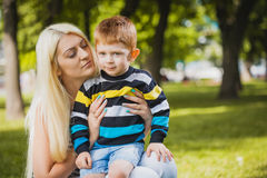 Mother with son in the park Royalty Free Stock Photo