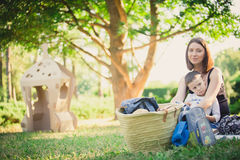 Mother and son in the park summer day. Royalty Free Stock Photos