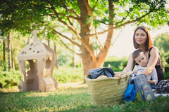 Mother and son in the park summer day. Royalty Free Stock Images