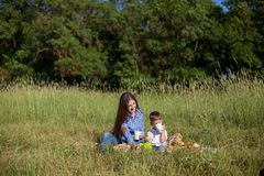 Mother and son at a picnic outdoors eating holiday. Mother and son at a picnic outdoors eating stock photos