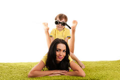 Mother and son play. Attractive mother and son play Royalty Free Stock Image