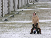 Mother with son play. winter. Snow Stock Images