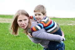 Mother and son playing Stock Photos