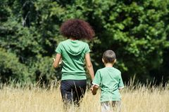 Mother and son playing. Mother playing with her son in a meadow, in a sunny day Royalty Free Stock Image