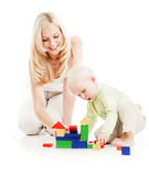 Mother and son playing building blocks together Royalty Free Stock Images