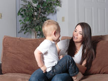 Mother and son playing at home together Royalty Free Stock Photo