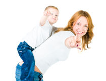 Mother and son point out. On white Royalty Free Stock Image
