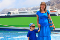 Mother and son in the port Stock Image