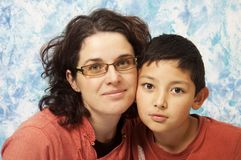 Mother and son portrait. Portrait of mother and cute son Royalty Free Stock Photography