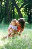 Mother and son portrait. Mother and son outdoor portrait Stock Images