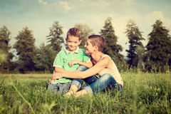 Mother and son posing for an outdoor portrait Royalty Free Stock Image