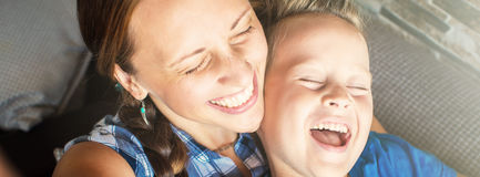 Mother And Son Posing For Selfie  and smiling, banner Royalty Free Stock Photo