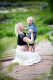Mother and son. Pregnant mother with her son Royalty Free Stock Images