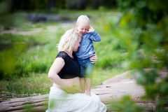 Mother and son. Pregnant mother with her son Royalty Free Stock Photo