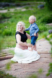 Mother and son. Pregnant mother with her son Stock Photography