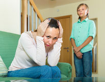Mother and son after quarrel Stock Photography