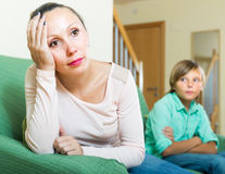 Mother and son after quarrel Stock Images